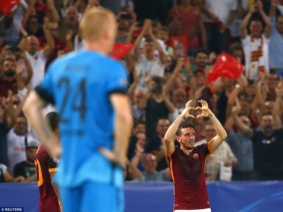 Florenzi makes a heart sign with hands while celebrating his Champions League goal against Barcelona at the Stadio Olimpico