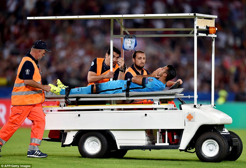 Substitute Rafinha had to be wheeled off on a medical buggy as he was unable to carry on after a poor challenge by Radja Nainggolan