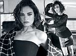 Lily James wearing sweater by Helmut Lang, bra by Eres and skirt by Versus, photographed by Jem Mitchell for The EDIT, NET-A-PORTER.com.jpg