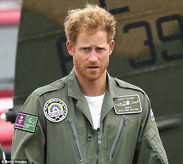 New look: The fifth in line to the throne sported a ginger beard as he took part in an official engagement in Sussex on his birthday. He later flew to London by helicopter to meet Cressida and a group of close friends