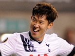 Son Heung-min celebrates his second goal during the UEFA Europa League Group J match between Tottenham Hotspur and FK Qarabag played at White Hart Lane, London