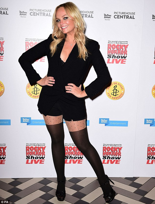 A horror show: Emma Bunton was clad in some rather saucy attire for her guest appearance in the one-off gala charity production of The Rocky Horror Show at London's Playhouse Theatre on Thursday evening