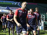 Rugby Union - England Captain's Run - Twickenham Stadium - 17/9/15  England's Chris Robshaw leads out the team for training  Action Images via Reuters / Henry Browne  Livepic