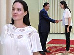 """US actress Angelina Jolie (R) shakes hands with Cambodian Prime Minister Hun Sen (L) during a meeting at the Peace Palace in Phnom Penh on September 17, 2015. Actress-turned-director Angelina Jolie is to make a film about Cambodia's Khmer Rouge regime seen through the eyes of a war-scarred child for Netflix. The Oscar-winning Hollywood A-lister will adapt """"First They Killed My Father: A Daughter of Cambodia Remembers,"""" a harrowing memoir by Cambodian human rights activist Loung Ung about surviving the deadly regime. AFP PHOTO / TANG CHHIN SOTHYTANG CHHIN SOTHY/AFP/Getty Images"""