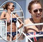 International girl: Mel B shows off her taut and toned body in an Australian flag bikini... as she reveals she wants to move to Paris