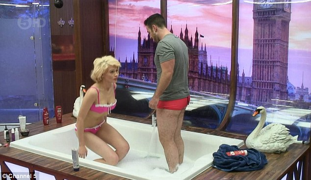 All eyes on her: It seems the sight of his bikini-clad lover was enough to get Stevi excited, as he showered her with compliments about how good she looked