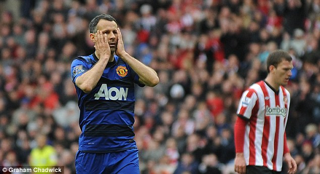 Heartbreak: Giggs was denied a 13th Premier League winners' medal at the Stadium of Light after Sergio Aguero dramatically sent the title to City