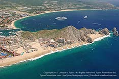 aerial view of Land's End and bay at cabo san lucas, mexico in September 2012 after rain.