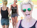 Calabasas, CA - Britney Spears braved the heat today while shopping for toys wearing a black tank top, Daisy Dukes showing off her legs and blue suede sandals. The happy mother of two seemed to be in very good spirits and even shared a few cute-funny faces with our photographer.\nAKM-GSI         September 17, 2015\nTo License These Photos, Please Contact :\nSteve Ginsburg\n(310) 505-8447\n(323) 423-9397\nsteve@akmgsi.com\nsales@akmgsi.com\nor\nMaria Buda\n(917) 242-1505\nmbuda@akmgsi.com\nginsburgspalyinc@gmail.com