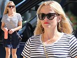 September 17, 2015: Reese Witherspoon heads to an office building in a striped blouse and denim skirt in Los Angeles, CA.\nMandatory Credit: Fresh/INFphoto.com Ref: infusla-294