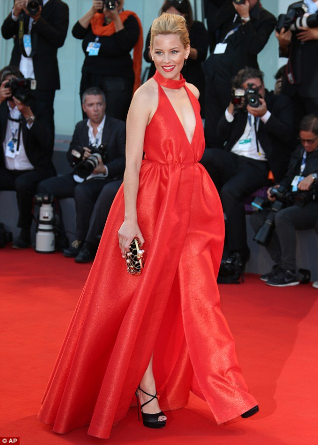 Flaming red carpet:Elizabeth Banks on the red carpet at the 72nd edition of the Venice Film Festival in Venice, Italy earlier this month