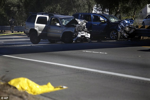 While the suspect fled up the side of the freeway before collapsing, his vehicle kept going before hitting one coming the other way, leaving three people in hospital, including one in critical