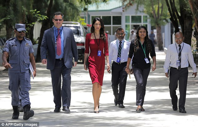 On the ground: Amal Clooney leaves the Maafushi Prison, near the Maldivian capital of Male. The Maldives is, in reality, a violent, dangerous place — particularly for those involved in politics