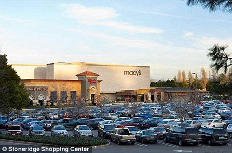 Danger: Amanda Nejat left her 11-week-old twins in her car in the Stoneridge Mall parking lot (pictured) in California while she shopped for 40 minutes