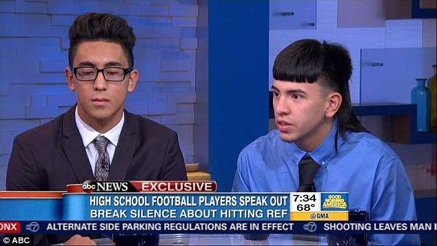 Speaking out: John Jay High School senior Michael Moreno (left) and sophomore Victor Rojas (right) appeared on Good Morning America to talk about how they tackled a Texas referee