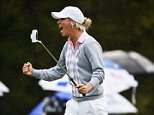 ST LEON-ROT, GERMANY - SEPTEMBER 19:  Melissa Reid of team Europe celebrates holeing her putt during the continuation of the afternoon fourball matches at The Solheim Cup at St Leon-Rot Golf Club on September 19, 2015 in St Leon-Rot, Germany.  (Photo by Stuart Franklin/Getty Images)