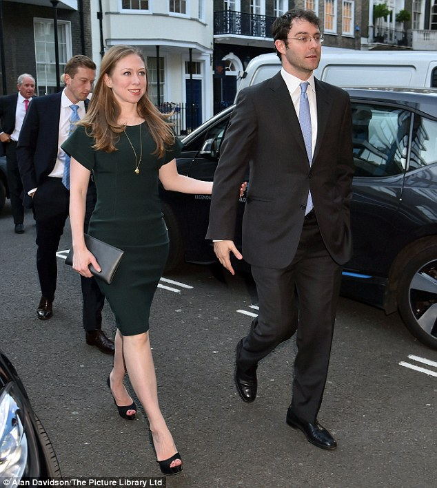 Looking good: Chelsea Clinton arrives at Spencer House on the arm of husband Marc Mezvinsky