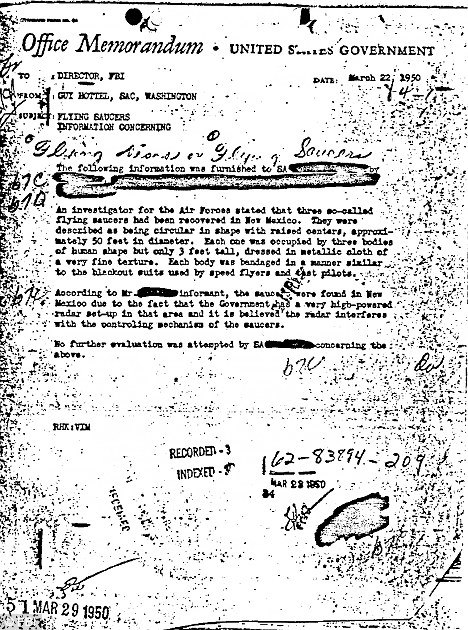 Caption The memo that 'proves aliens landed at Roswell'… released online by the FBI - How to fabricate Aliens and UFOs Myth using State-Secrets