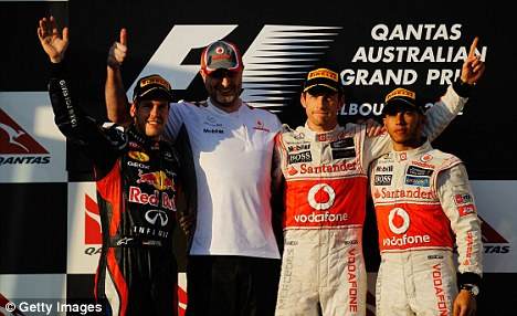 Reason to be cheerful: Lewis Hamilton finished behind Sebastian Vettel and Jenson Button in Australia, despite starting from pole