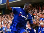 LONDON, ENGLAND - SEPTEMBER 19:  Kurt Zouma (1st R) of Chelsea celebrates scoring his team's first goal during the Barclays Premier League match between Chelsea and Arsenal at Stamford Bridge on September 19, 2015 in London, United Kingdom.  (Photo by Ian Walton/Getty Images)