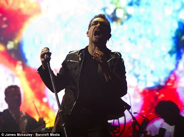 Headliners: U2 topped the bill on the Pyramid Stage last night for the first day of the festival