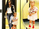 Kourtney Kardashian does business in Los Angeles while accompanied by super cute daughter Penelope, who was dressed in cowgirl attire. September 18, 2015 X17online.com