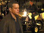 EXCLUSIVE: Damon is seen alongside his stunt double filming a police motorbike scene.\n\nPictured: Matt Damon\nRef: SPL1128237  160915   EXCLUSIVE\nPicture by: Brett/JamesJenkins/Splash\n\nSplash News and Pictures\nLos Angeles: 310-821-2666\nNew York: 212-619-2666\nLondon: 870-934-2666\nphotodesk@splashnews.com\n
