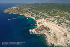 Aerial view lof the Cabo San Lucas Tourist Corridor. Photo taken during September 2012 after rain.