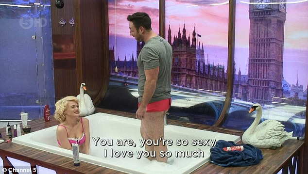 Loved-up: Stevi Ritchie, 34, was seen swooning over fiancée Chloe-Jasmine Whichello, 24, as the couple shared a hot bath together in Celebrity Big Brother on Saturday night