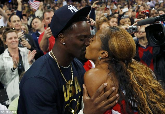 Celebrating: Mrs Richards-Ross was congratulated by her husband Aaron Ross, who is an NFL player and a two-time Super Bowl champion