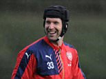 ST ALBANS, ENGLAND - SEPTEMBER 18:  Petr Cech of Arsenal smiles during a training session at London Colney on September 18, 2015 in St Albans, England.  (Photo by Stuart MacFarlane/Arsenal FC via Getty Images)