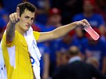 Tennis - Great Britain v Australia - Davis Cup Semi Final - Emirates Arena, Glasgow, Scotland - 18/9/15  Australia's Bernard Tomic celebrates winning his singles match  Action Images via Reuters / Jason Cairnduff  Livepic