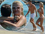 OIC - ENTSIMAGES.COM  - NO WEB USE UNLESS FEES AGREED - EXCLUSIVE!!  Pixie Lott enjoys a day at the beach with her boyfriend Oliver Cheshire and her brother Stephen showing off her great bikini body in Mykonos island, Greece. September 15th, 2015. Photo Mavrix Photo Inc/OIC 0203 174 1069