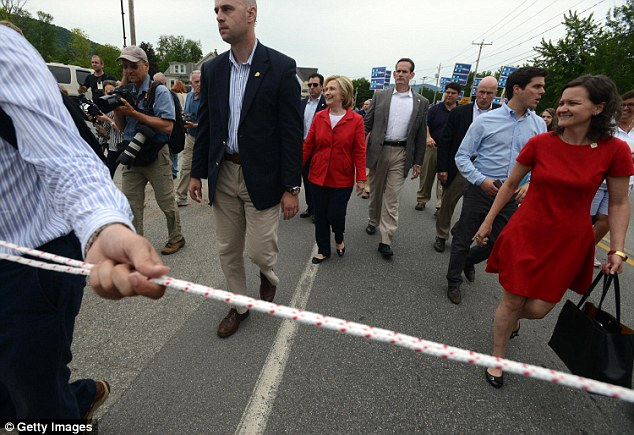 Controversial: Hillary Clinton's aides were seen attempting to lasso journalists during an event last week