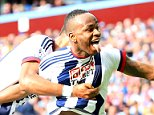 19th September 2015 - Barclays Premier League - Aston Villa v West Bromwich Albion - Saido Berahino of West Bromwich Albion scores the opening goal for the away side (0-1) - Photo: Paul Roberts / Offside.