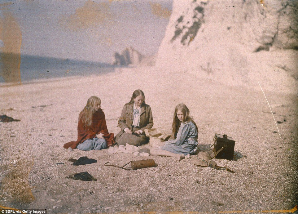 The photos, labelled only 'Christina', were taken using the autochrome process by Mr O'Gorman. We now though this photo is of Christina (left) and her mother Daisy (centre) and sister Anne (right)