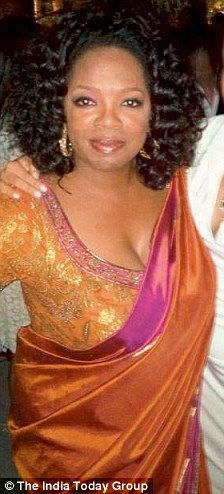 Oprah Winfrey donned an orange sari for a bash during her visit to India while Lady Gaga wore one at a Formula One event
