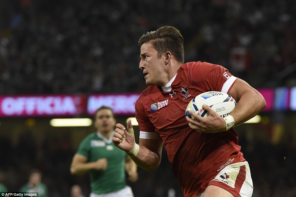 DTH Van der Merwe charged down a kick by Ireland's Jared Payne and ran 50 metres to score for Canada