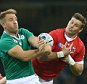 Luke Fitzgerald of Ireland and Matt Evans of Canada in action during the IRB Rugby World Cup Pool D match between Ireland and Canada played at The Millennium Stadium, Cardiff