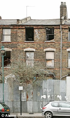 Derelict houses in Dalston area, London, UK.
