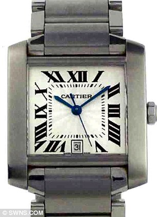 The Cartier watch stolen from Richard Barnfather's home