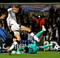 Reaching a peak: Peter Crouch (second right) latches on to Inter Milan's tormentor-in-chief Gareth Bale's (left) cross to give Spurs a 2-0 lead over European champions Inter Milan