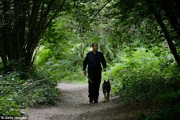 Entrances to Birchwood have been sealed off with police tape while four specialist trained dog handlers carrying long sticks have been searching the woodland since last night hunting for clues to help them trace the 12 year-old