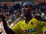 NEWCASTLE UPON TYNE, ENGLAND - SEPTEMBER 19:  Odion Ighalo (R) of Watford celebrates scoring his team's first goal with his team mate Almen Abdi (L)  during the Barclays Premier League match between Newcastle United and Watford at St James' Park on September 19, 2015 in Newcastle upon Tyne, United Kingdom.  (Photo by Nigel Roddis/Getty Images)