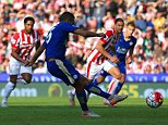 STOKE ON TRENT, ENGLAND - SEPTEMBER 19: Riyad Mahrez of Leicester City scores his team's first goal from the penalty spot during the Barclays Premier League match between Stoke City and Leicester City at Britannia Stadium on September 19, 2015 in Stoke on Trent, United Kingdom.  (Photo by Clint Hughes/Getty Images)
