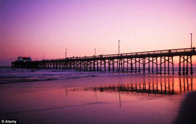 Sunny California: Newport Pier at sunset at Newport Beach in Orange County