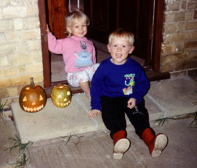 Holly as a toddler with her brother Oliver