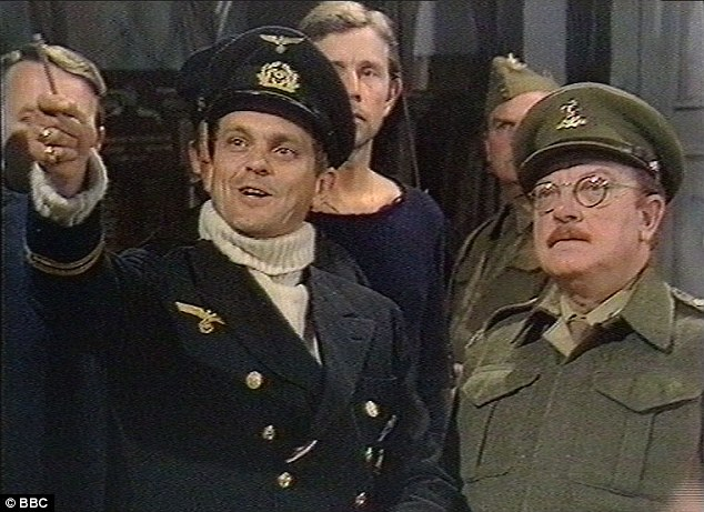 Dad's Army: Captain Mainwaring, Arthur Lowe (right), and the German U-boat captain, Philip Madoc, in the priceless Don't tell him Pike incident in the The Deadly Attachment episode from October 1973