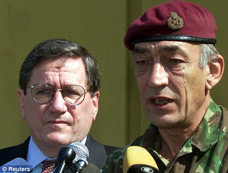 Legacy: Holbrooke with Lieutenant-General Sir Michael Jackson during their successful campaign to bring peace to Bosnia and Kosovo