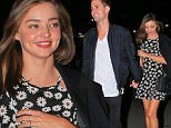 Please contact X17 before any use of these exclusive photos - x17@x17agency.com   Miranda Kerr wears a daisy summer dress for hot date with Snapchat billionaire Evan Spiegel at Staples Center in Los Angeles for Zedd concert sept 19, 2015 X17online.com